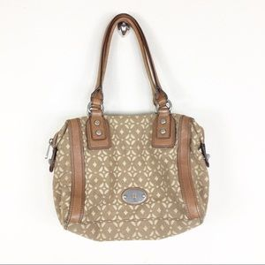 Fossil Leather And Canvas Brown Bag